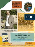 Dr. Alvaro Huerta - Talk (Virtual)-Life Career as Chicano Scholar Activist by Dr. Alvaro Huerta-SDSU-April 13 2021
