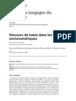 Discours de haine dans les réseaux socionumériques