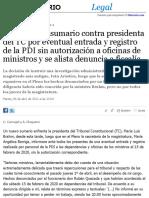 Abren Nuevo Sumario Contra Presidenta Del TC