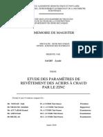 Mémoire de Magister Acier Galvanisé