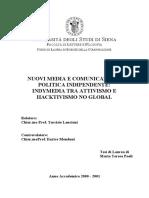 NUOVI MEDIA E COMUNICAZIONE POLITICA INDIPENDENTE_ INDYMEDIA TRA ATTIVISMO E HACKTIVISMO NO GLOBAL