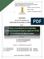 M2 Pharmaceutique Culture et production de la spiruline Arthrospira platensis dans la région de M'sila et l'Extraction de_1