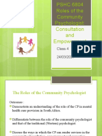 Role of the Community Psychologist 2020
