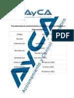 AyCA-PET-1005 Procedimiento de mantenimiento y limpieza a sistemas eléctricos e instrumentales. Rev. 3