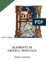 Paolo Chiesa - Elementi Di Critica Testuale-Pàtron (2002)