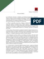 Declaración Publica, Renuncia de Melero