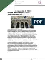 Bankitalia e Università di Urbino per offrire educazione finanziaria - La Discussione.it, 9 aprile 2021