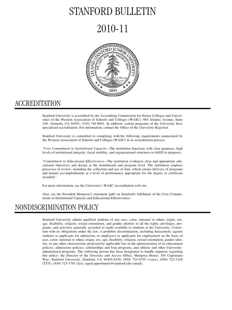 stanford-1011_bulletin | Graduate School | Undergraduate