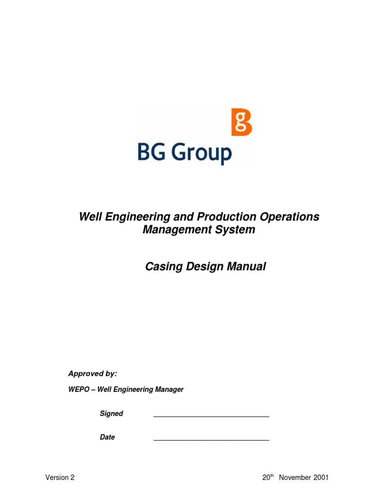 casing design manual bg 2001 casing borehole vortices rh scribd com OCTG Casing and Tubing OCTG Casing and Tubing