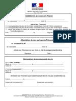 Attestation de présence en France-non polygamie-communauté de vie-respect de valeurs de la République - 02-2020