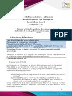 Guía de actividades y rúbrica de evaluación - Fase 2 - Definición de la integral como antiderivada y áreas bajo la curva