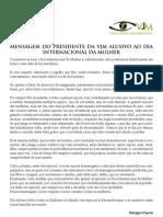 Mensagem Do Presidente Da VJM Alusivo Ao Dia Internacional Da Mulher