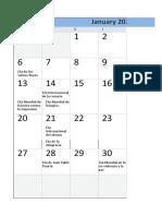 Calendario de fechas para conmemorar
