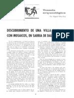 Oliva, M. Descubrimiento Villa Romana Con Mosaicos Gerona. 1970