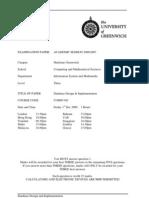 Database Design and Implementation Exam December 2006 - UK University BSc Final Year