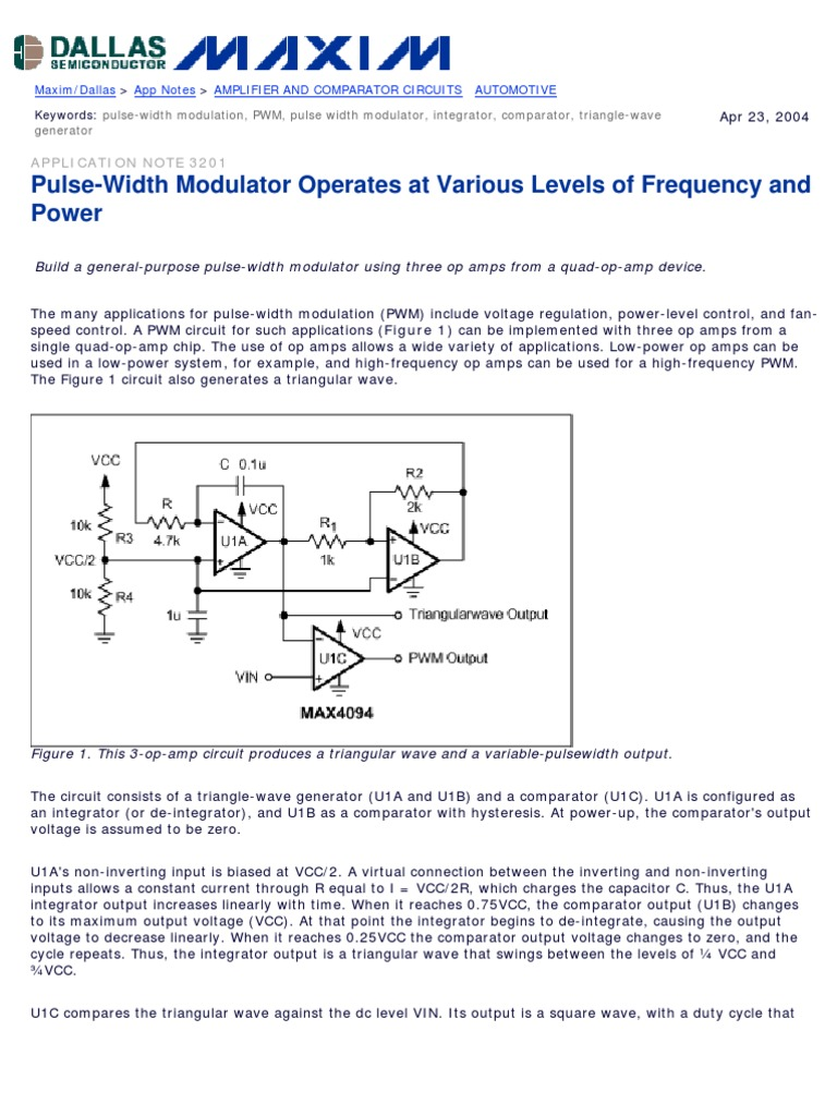 Pwm Amplifier Operational Op Amp Comparator Circuits