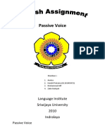 English Assignment of Passive Voice