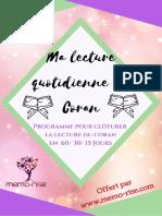 Ma Lecture Quotidienne Du Coran Programme 60 Jours