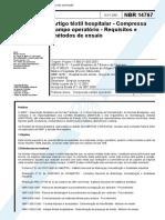 NBR 14767 - Artigo Textil Hospitalar - Compressa Campo Operatorio - Requisitos e Metodos de Ensai