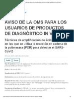 AVISO DE LA OMS PARA LOS USUARIOS DE PRODUCTOS DE DIAGNÓSTICO IN VITRO PCR