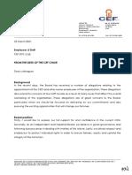 CEF board communication to staff