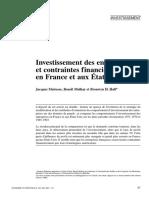 INVESTISSSEMENT DES ENTREPRISES ET CONTRAINTES FINANCIERES