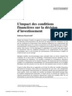 Impact Des Condidtions Financieres Sur Les Decisions d'Investissement