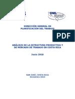 Análisis de la estructura productiva y de Mercado de Trabajo en Costa Rica  Junio 2010