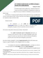 Acerca del concepto de Unidad de información en Bibliotecología y Ciencias de la Información / Emiliano M. Abalos
