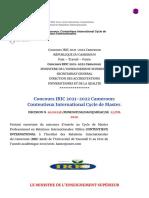 Concours IRIC 2021-2022 Cameroun_ Contentieux International Cycle de Master Professionnel en Relations Internationales - Kamerpower™