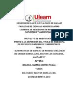 Alternativas de Manejo de Residuos Orgánicos de Origen Domiciliario, Sector Los Geranios, Manta 2018.