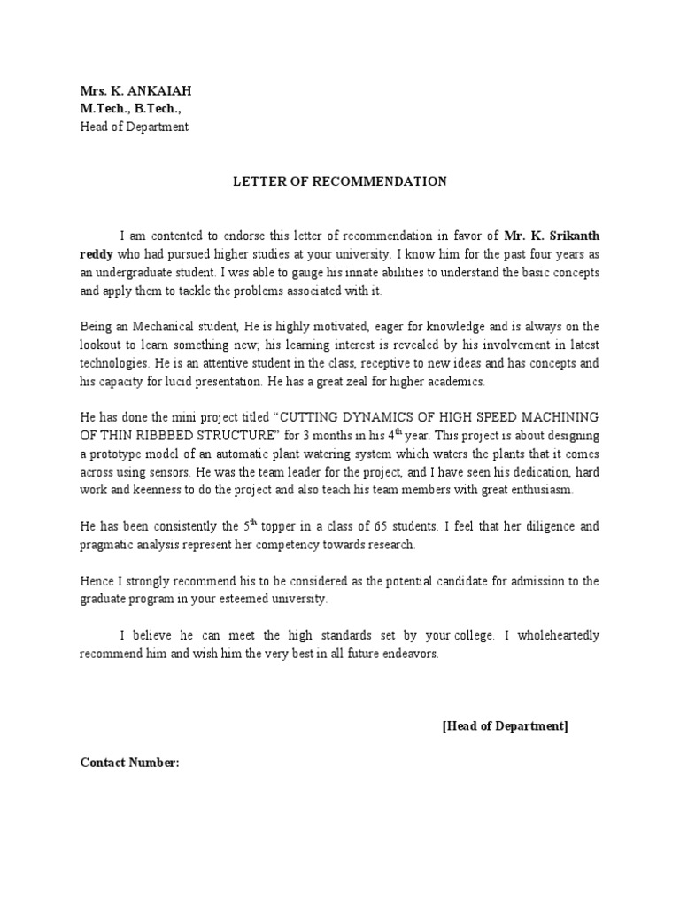 Sample Recommendation Letter For Computer Science Student 8 Letter
