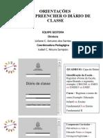 Orientação  -  Como preencher o Diário de Classe