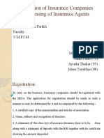 Registration of Insurance Companies And Licensing of Insurance Agents