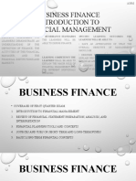 Business Finance Introduction to Financial Management