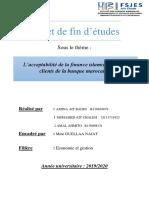 PFE Groupe 3  L'acceptabilité de la finance islamique par les clients de la banque marocaine.