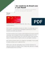 O aumento do comércio do Brasil com a China