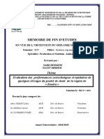 Evaluation Des Performances Zootechniques Et Sanitaires de Quelques Élevages Du Poulet de Chair de La Région de « Bouira »