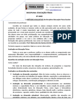 EDUCAÇÃO FÍSICA - ATIVIDADE 6º ANO - I UNIDADE