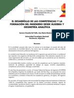 EL DESARROLLO DE LAS COMPETENCIAS Y LA FORMACIÓN DEL INGENIERO DESDE ÁLGEBRA Y GEOMETRÍA ANALÍTICA