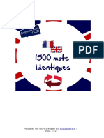 1500 Mots Equivalents Francais Anglais
