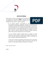 Nota de Prensa CPI