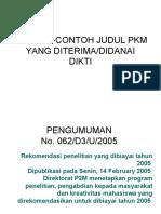 CONTOH-CONTOH JUDUL PKM YANG DITERIMA