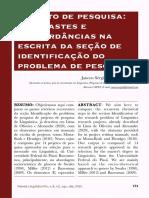 LIMA DE OLIVEIRA, Jancen Sérgio. Projeto de pesquisa contrastes e concordancias na escrita da identificação do problema de pesquisa