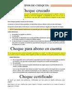 TIPOS DE CHEQUES DERECHO CORPORATIVO