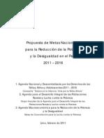 Propuesta de Metas Nacionales para la Reducción de la Pobreza y la Desigualdad en el Perú 2011 – 2016