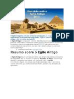 Exercícios sobre Egito Antigo primeiros anos Hs