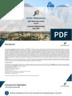 JDR Investor Presentation, May 2020