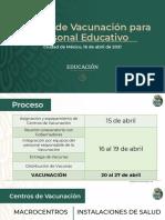 SEP Vacunación Personal Educativo, 16abr21