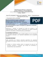 Guia de actividades y Rúbrica de evaluación Paso 3 - Determinación del impuesto de renta